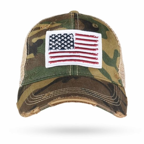 American Flag patch on camo trucker hat Boutique